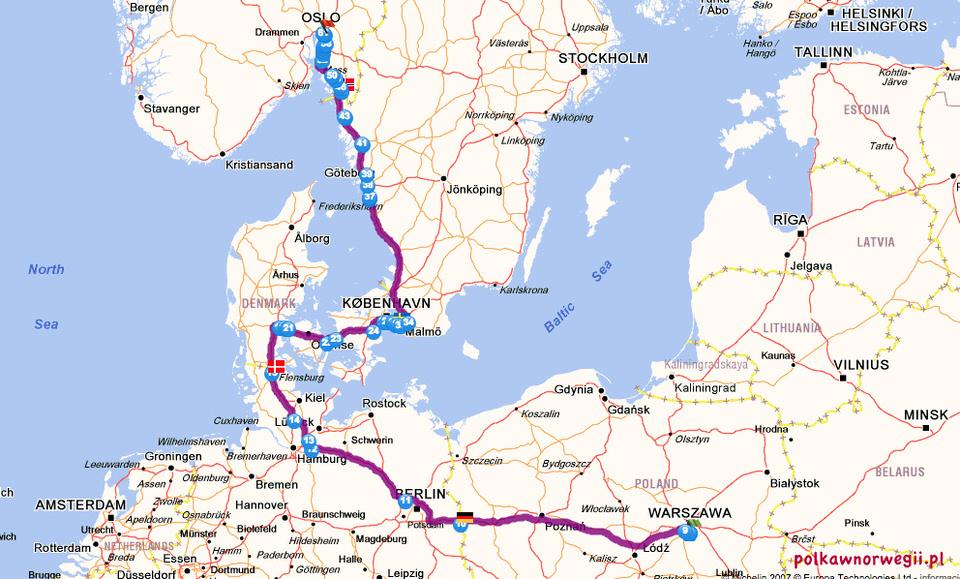 Z Polski do Norwegii autem
